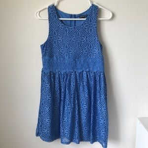 Pretty Blue Crochet Lace Dress